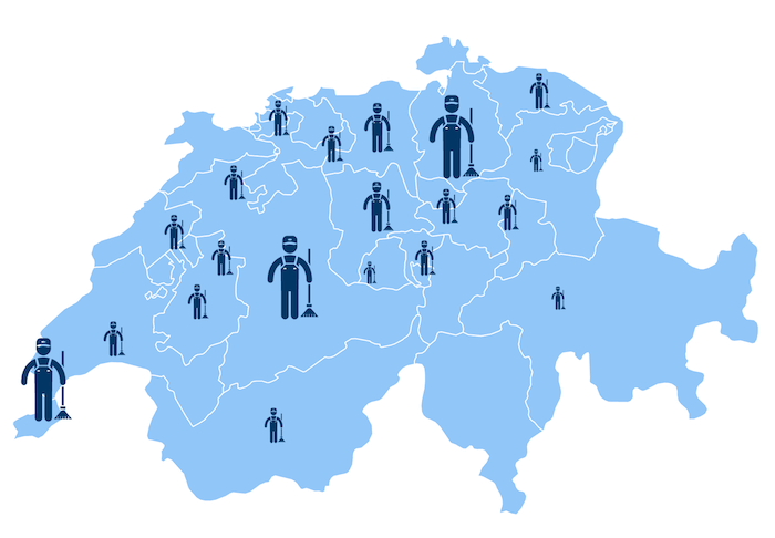Locations of cleaning companies in Switzerland
