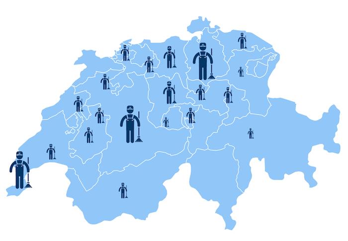 Standorte der Reinigungsfirmen in der Schweiz