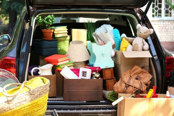 a car full of moving goods