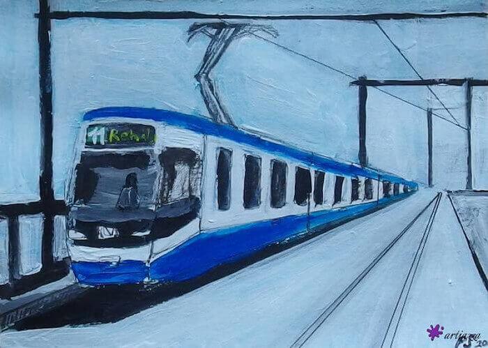 blaues Zürich Tram