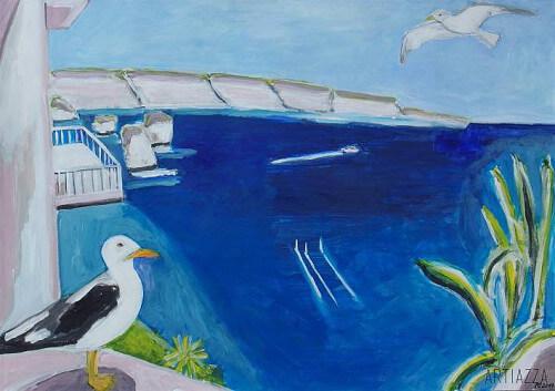 Gemälde: Meer und Vögel in Korsika