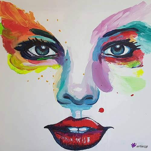 Gemälde: Butterfly, Gesicht einer Frau