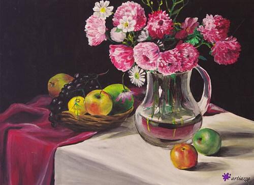 Stillleben: Vase, Äpfel, Blumen