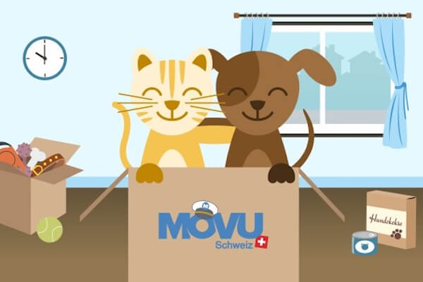 A dog and a cat in a moving box