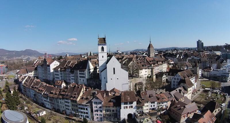 Stadt Aarau von oben