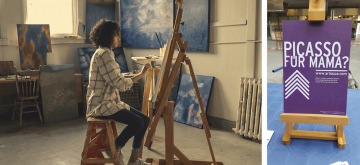 Easels with pictures