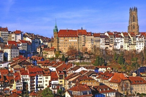 View of the city of Fribourg (Freiburg) with sunshine.