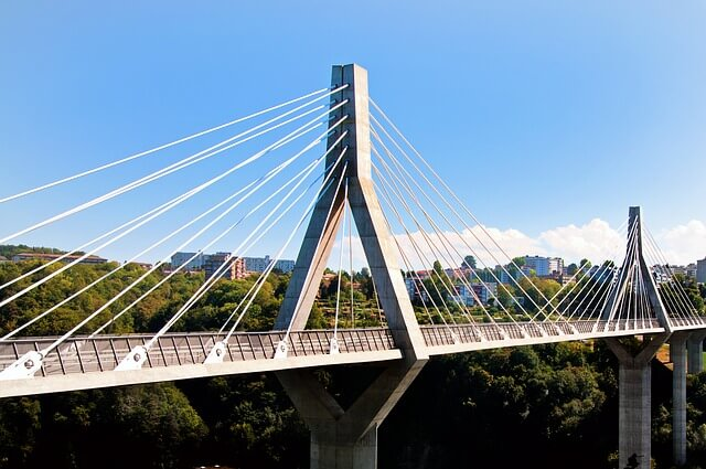 Picture of a bridge in Fribourg where the van for your move could drive through.