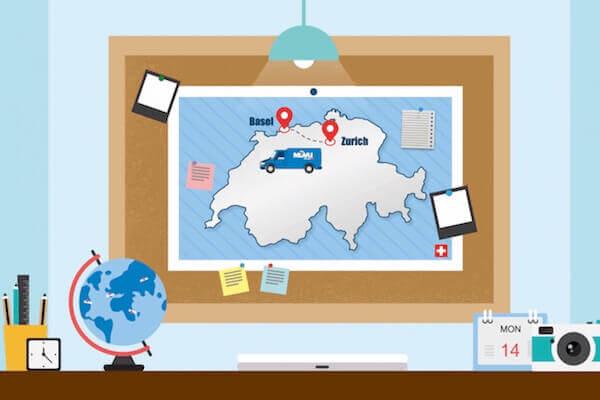 Carte de la Suisse avec un camion de déménagement et un globe terrestre.
