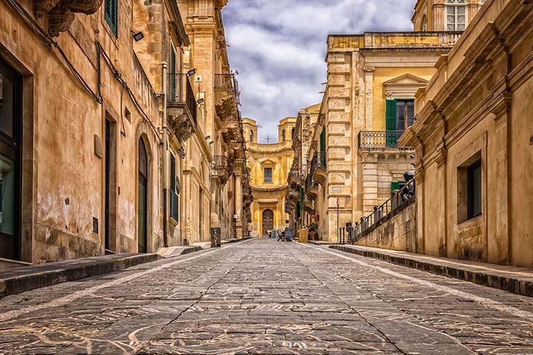 Bild auf Pflastersteine in Italien.